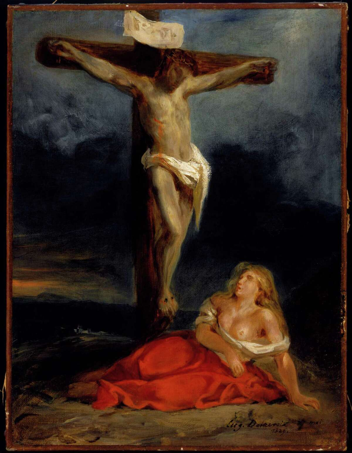 """""""Saint Mary Magdalene at the Foot of the Cross,"""" from 1829, is among the paintings by Eugène Delacroix that belong to the Museum of Fine Art, Houston."""