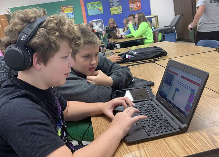 Laker students are being exposed to a new course this year: Code and Create. The course allows seventh grade students an opportunity to create their own video games. Photo: Courtesy Photo