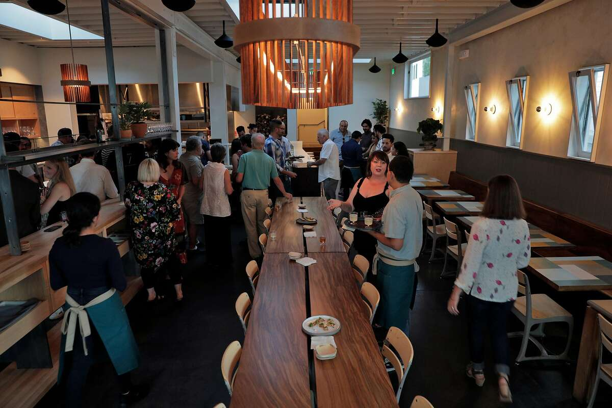 Guests in the dining room during a private event at Dear Inga, a new Eastern European restaurant opening on 18th Street in the Mission District in San Francisco, Calif., on Tuesday, September 24, 2019. The restaurant is named after the chef David Golovin's grandmother.