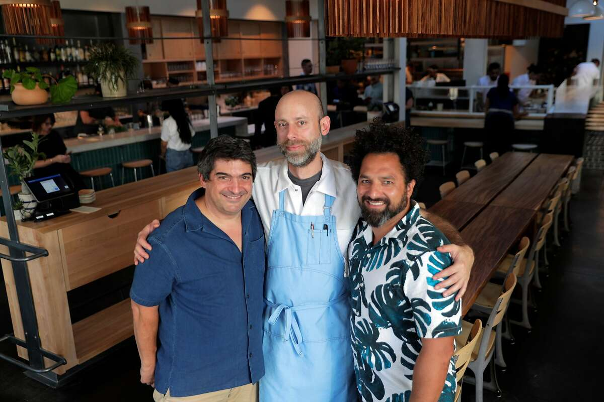Partners, Jeff Hanak, Chef David Golovin, and Ravi Kapur, in the dining room of Dear Inga, a new Eastern European restaurant opening on 18th Street in the Mission District in San Francisco, Calif., on Tuesday, September 24, 2019. The restaurant is named after the chef David Golovin's grandmother.