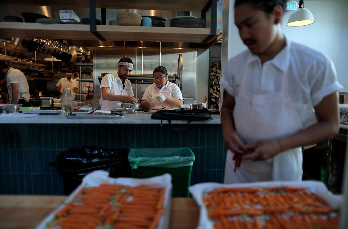Prep work continues in the kitchen for a private event at Dear Inga, a new Eastern European restaurant opening on 18th Street in the Mission District in San Francisco, Calif., on Tuesday, September 24, 2019. The restaurant is named after the chef David Golovin's grandmother.
