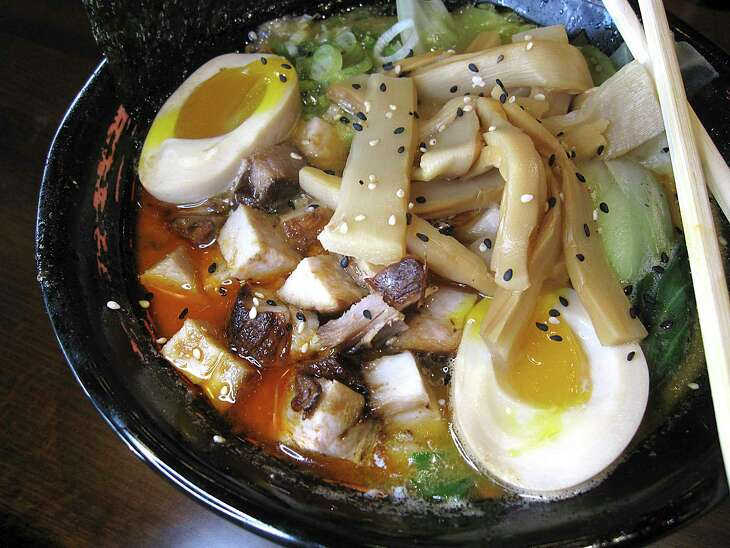 Spicy umami miso is a pork broth ramen with diced pork, seasoned egg, bok choy and an add-on of bamboo shoots at Bakudan Ramen.