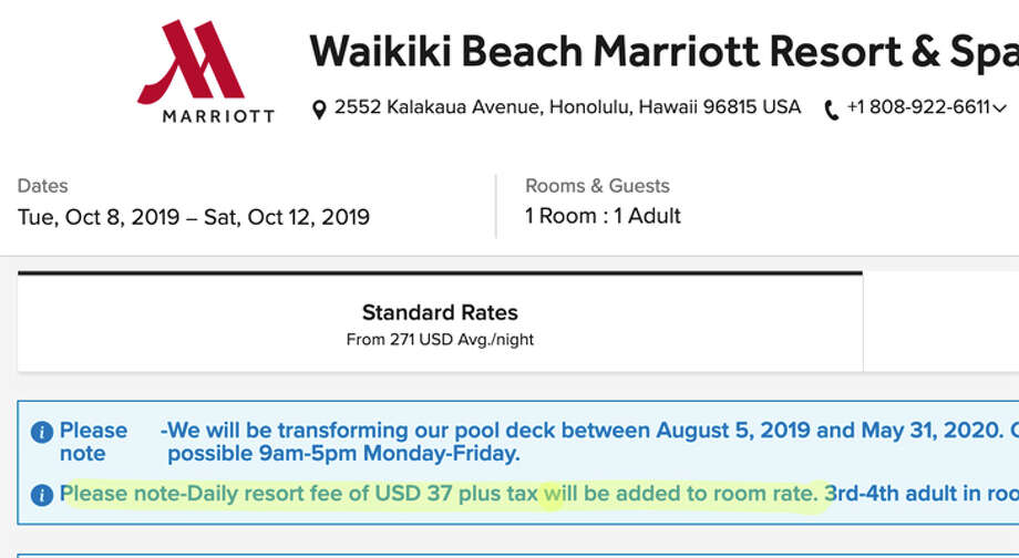 Some hotels, like the Waikiki Beach Marriott, have already moved up resort fee information to the first page of rate search results- the they are still not included in the posted price Photo: Marriott