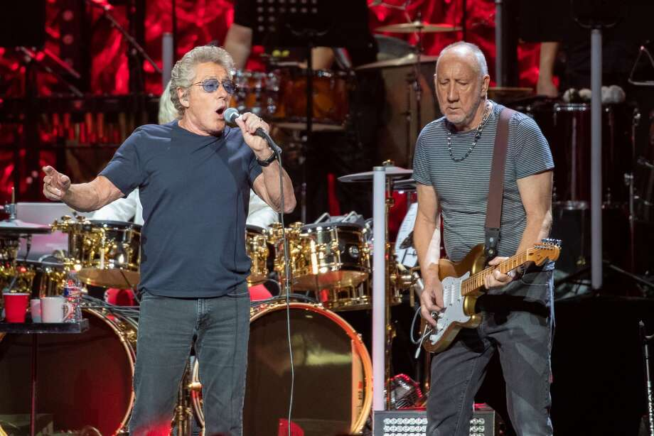 "Roger Daltrey (L) and Pete Townshend of British rock band ""The Who"" perform at the Toyota Center on the second leg of their Moving On! tour on September 25, 2019 in Houston, Texas. (Photo by SUZANNE CORDEIRO / AFP)        (Photo credit should read SUZANNE CORDEIRO/AFP/Getty Images) Photo: SUZANNE CORDEIRO/AFP/Getty Images, Getty Images"