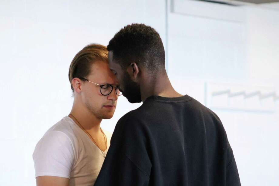 """Jeremiah Clapp, left, as Thomas, and Calvin Leon Smith, as Russell, rehearse for """"On the Grounds of Belonging,"""" onstage at Long Wharf Theatre, Wednesday, Oct. 9, through Sunday, Nov. 3. Photo: Deena Nicol-Blifford / Contributed Photo"""