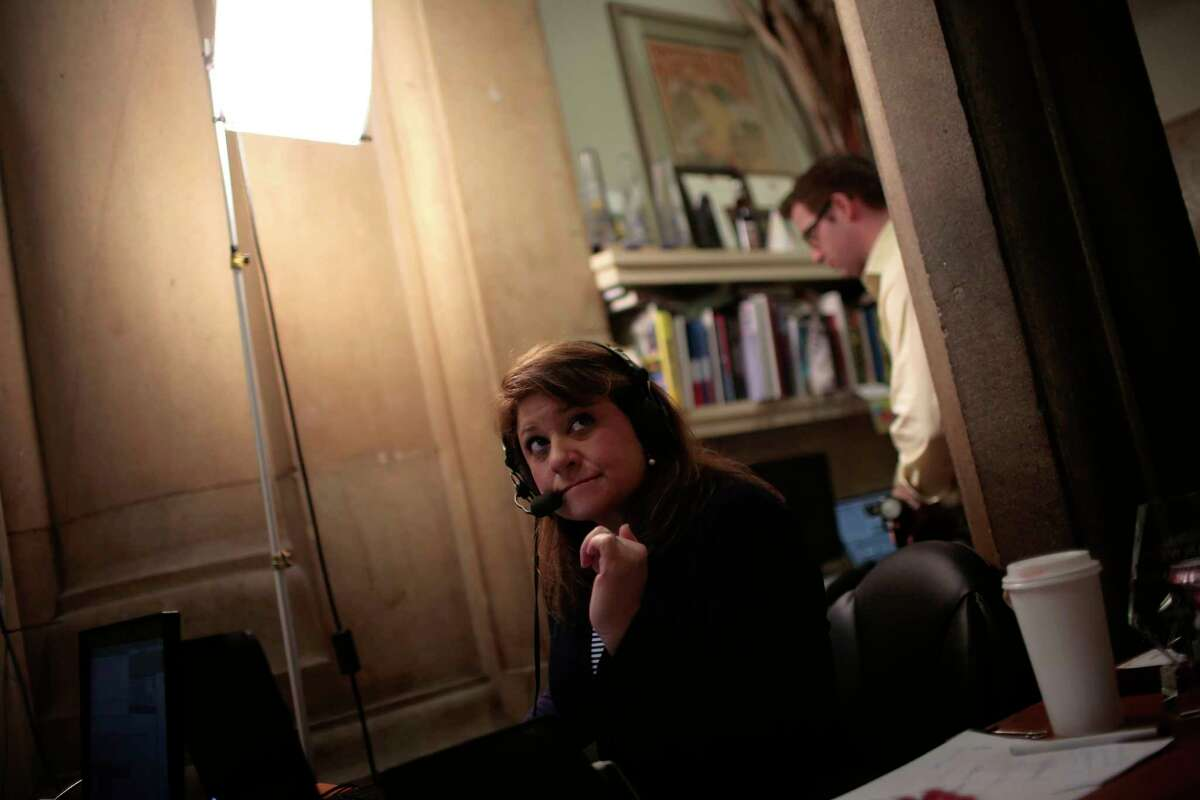 New York public radio host Susan Arbetter conducts a phone interview with Gov. Andrew Cuomo at the state Capitol in Albany, N.Y., April 29, 2013. The governor has stuck to radio as his medium of choice, granting more than 100 interviews on talk radio while avoiding television appearances as much as possible. (Nathaniel Brooks/The New York Times) ORG XMIT: XNYT166