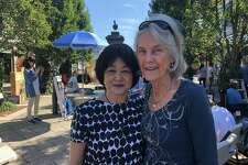 The Darien women responsible for Art on Plaza in Grove Street Plaza, Penny Glassmeyer, who built Grove Street Plaza, and Nobu Miki, the artist who conceived of the idea for the event. Missing from the photo is Lisa Elwell of Baywater Properties, who pulled all of it together