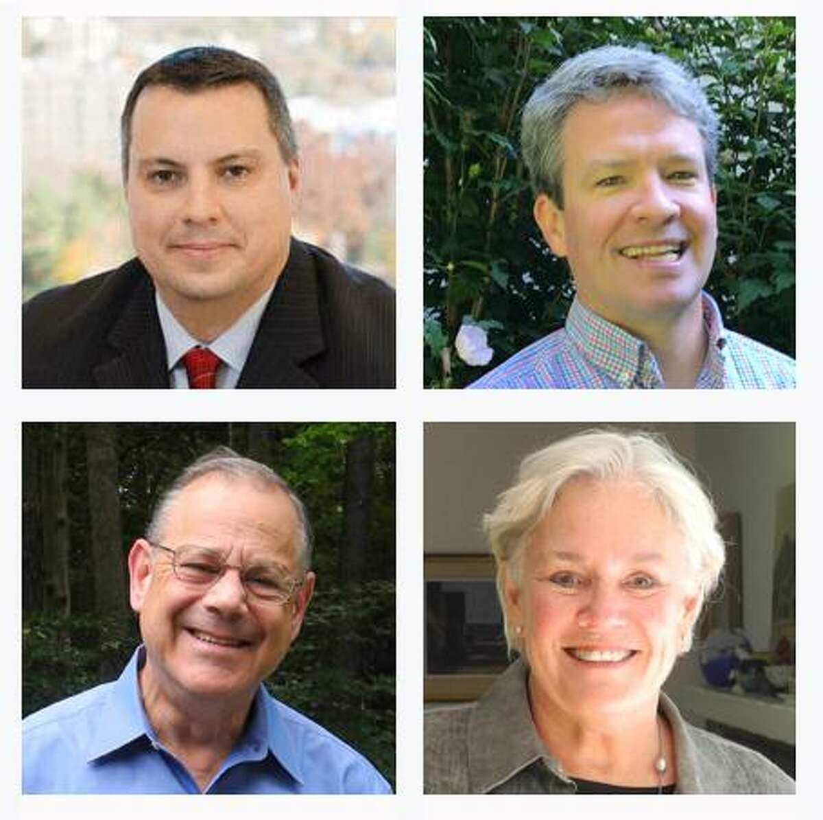The candidates running for Wilton Board of Selectmen are, clockwise from top left, Republican Joshua Cole, Unaffiliated David Clune, Democrat Ceci Maher and Democrat Ross Tartell. Joshua Cole