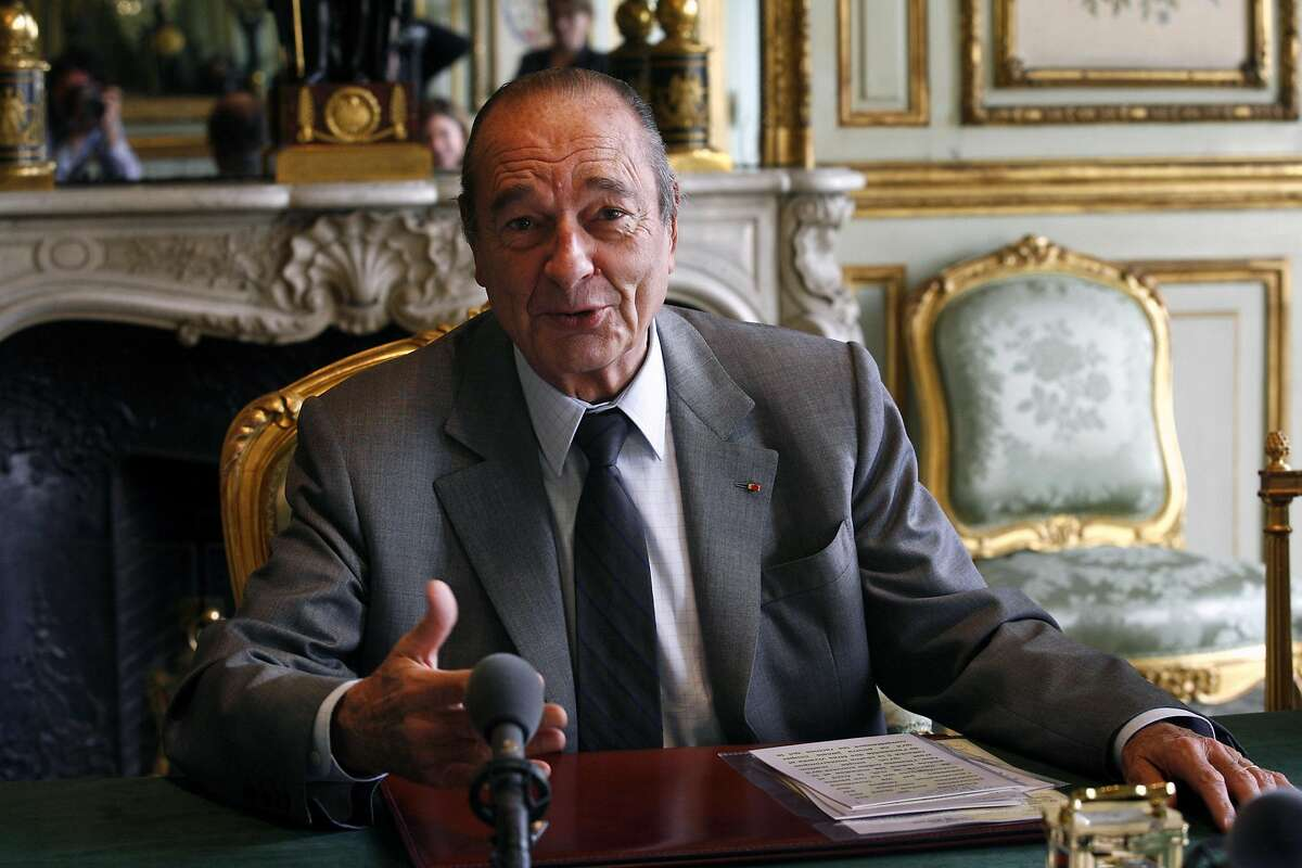 FILE-- President Jacques Chirac of France during an interview in his office in Paris, Jan. 29, 2007. Chirac, who molded the legacy of Charles de Gaulle into a personal power base that made him one of the dominant leaders of France across three decades and a vocal advocate of European unity, died on Sept. 26, 2019, at his home in Paris. He was 86. (Ed Alcock/The New York Times)