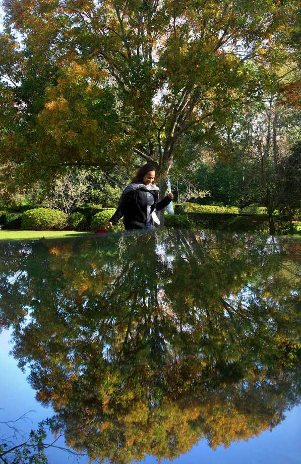 A tree is reflected in a glass table as Robin Brown walks through Bayou Bend Gardens in Houston. Photo: Cody Duty, Staff / Houston Chronicle / © 2011 Houston Chronicle