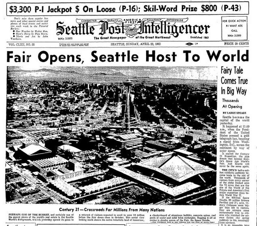 The front page of the Seattle Post-Intelligencer the morning after the opening of the World's Fair. Click through the gallery to see more pictures from the 1962 Seattle World's Fair. >>>