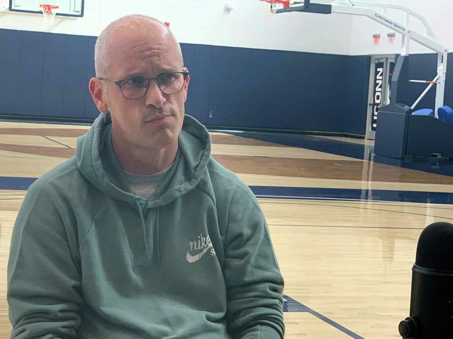 UConn coach Dan Hurley talks to David Borges on the Hearst Connecticut Sports Podcast. Photo: Pete Paguaga / Hearst Connecticut Media