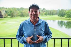 Jim Mueller of Orchard Creek holds the award for top finisher in the 60-64 age group Thursday, Sept. 26, 2019, in the 2019 New York State Senior Amateur at the Cavalry Club in Manlius, N.Y. Mueller finished sixth overall. (Dan Thompson/NYSGA)
