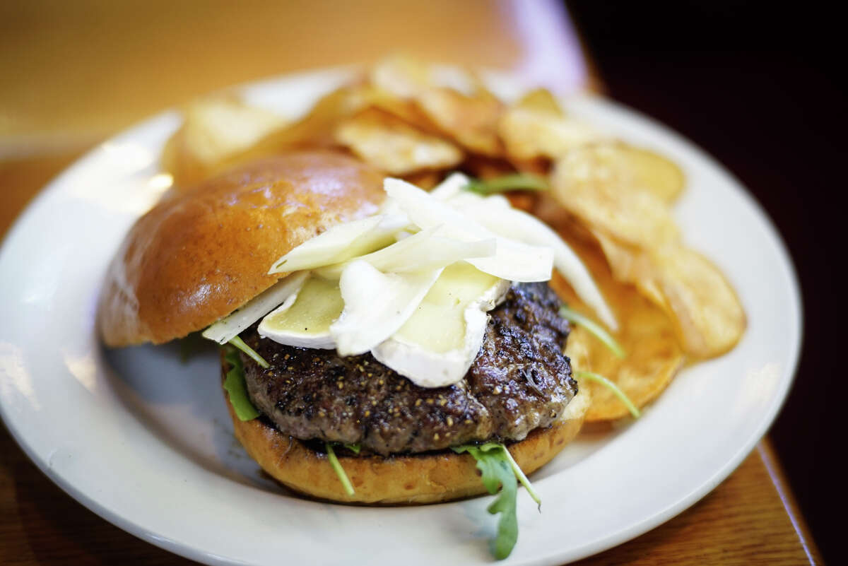 A lamb burger with brie cheese at the Albany Pump Station on Thursday, Sept. 19, 2019, in Albany, N.Y. (Paul Buckowski/Times Union)
