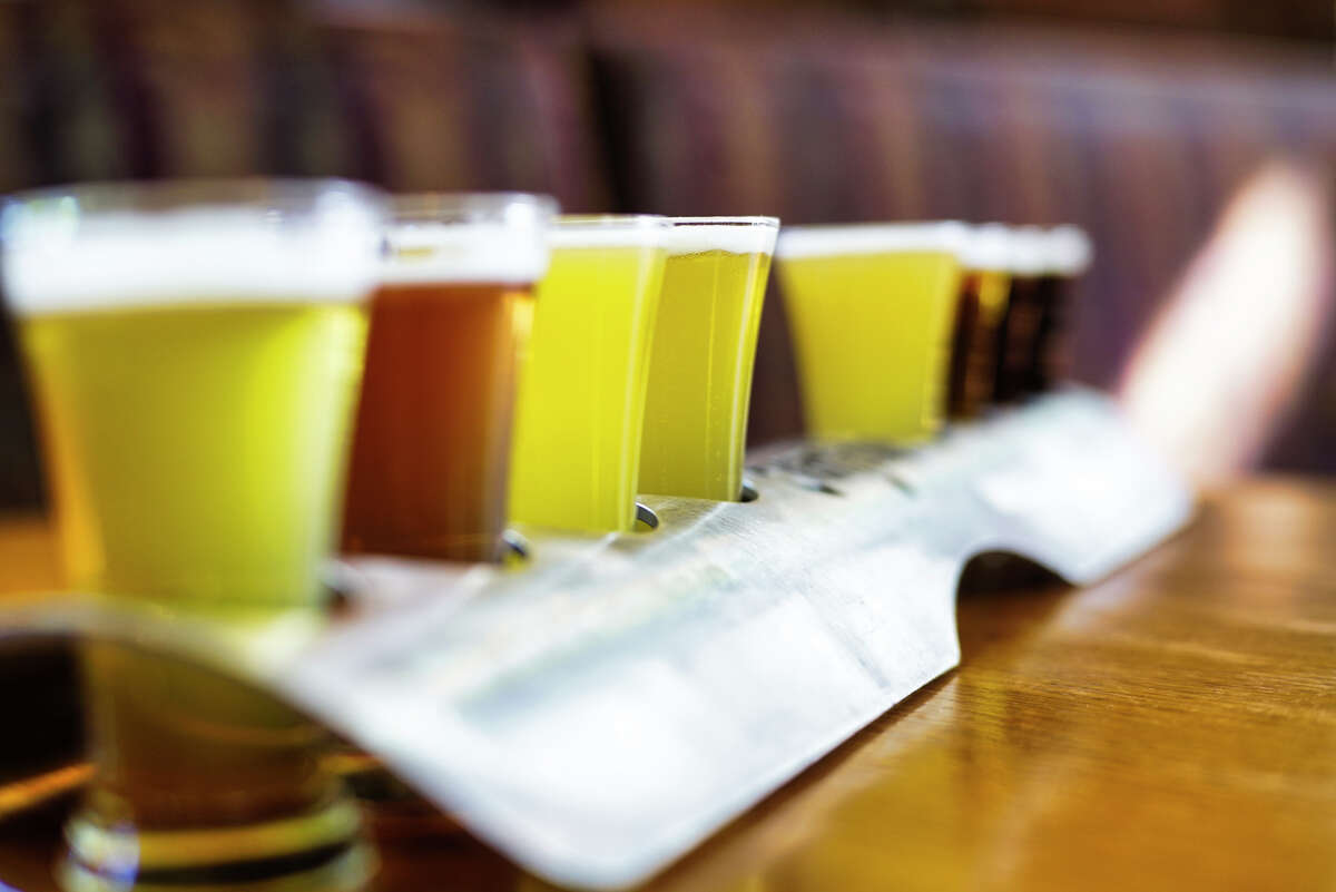 A beer flight, a sampling of the majority of what they brew at the Albany Pump Station on Thursday, Sept. 19, 2019, in Albany, N.Y. (Paul Buckowski/Times Union)