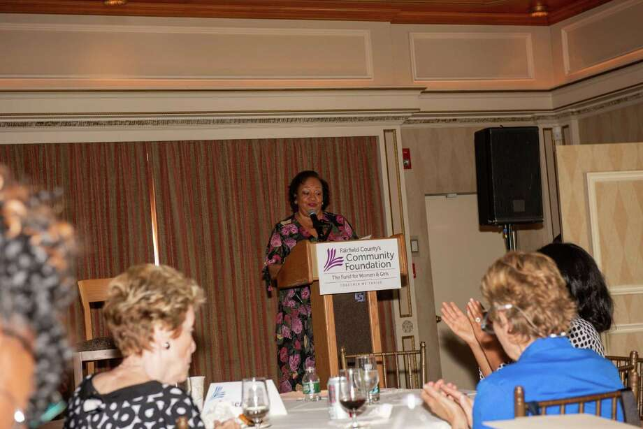 Juanita James, president & CEO, Fairfield County's Community Foundation addresses the audience of nonprofit leaders, elected officials, donors and Community Foundation Board members. Photo: Contributed Photo. / © marilyn roos