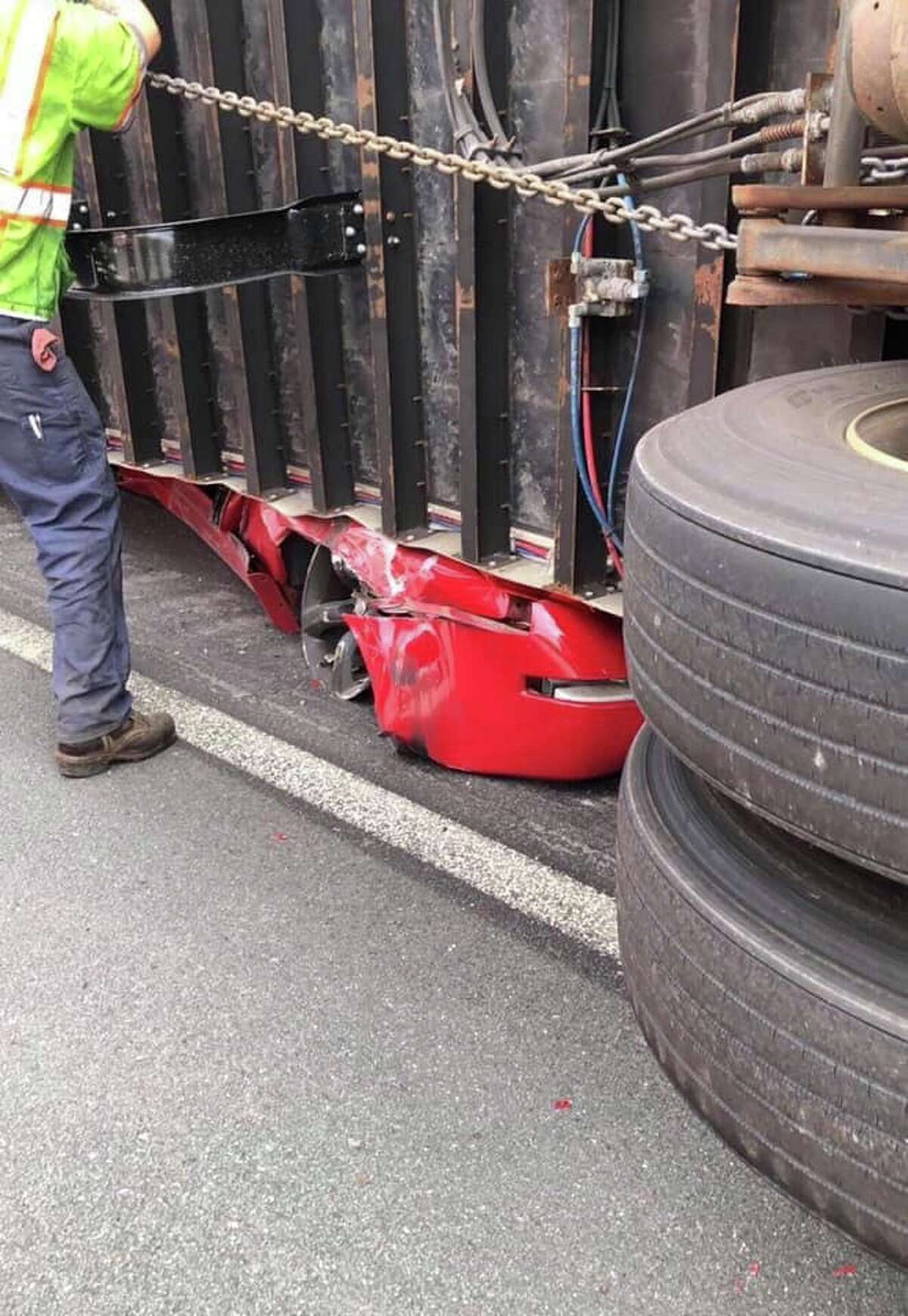 A Sept. 25, 2019, crash on Interstate 787 in Watervliet, N.Y., crushed a car under a tractor trailer and forced police to close all northbound lanes of the highway.