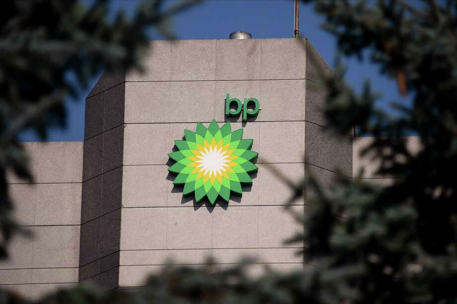 A view of the BP logo near the top of the BP Exploration Alaska headquarters. BP launched BPX Energy as the new operating company to drill its North American shale holdings following its acquisition of the shale assets of the Australian company BHP. Photo: Lance King, Stringer / Getty Images / 2019 Getty Images