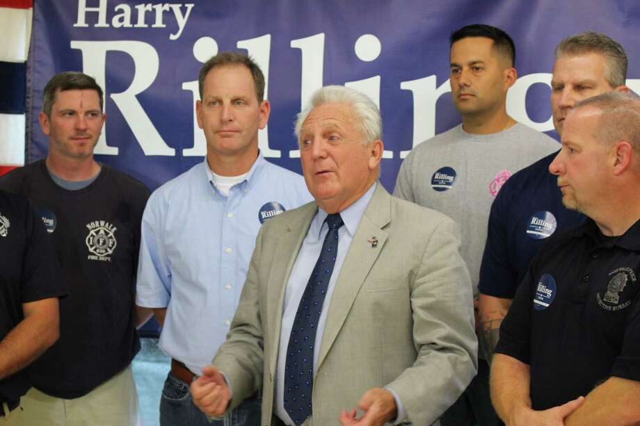 "Norwalk Mayor Harry Rilling said he is ""humbled"" to receive the endorsement of the Norwalk police and fire unions on Thursday, Sept. 26, 2019. Photo: Kelly Kultys / Hearst Connecticut Media"