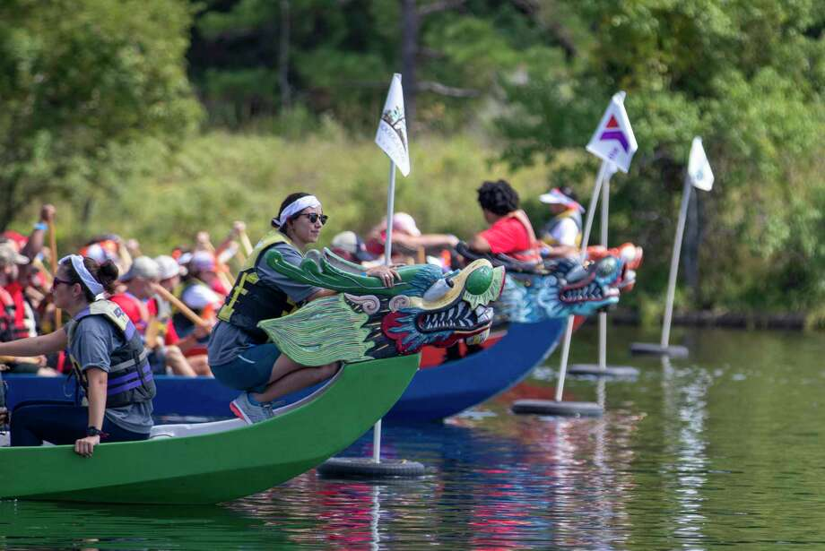 Teams line up to start their race during the 21st annual Dragon Boat Races on Thursday, September 26, 2019 at Northshore Park in The Woodlands. Photo: Cody Bahn, Houston Chronicle / Staff Photographer / © 2019 Houston Chronicle