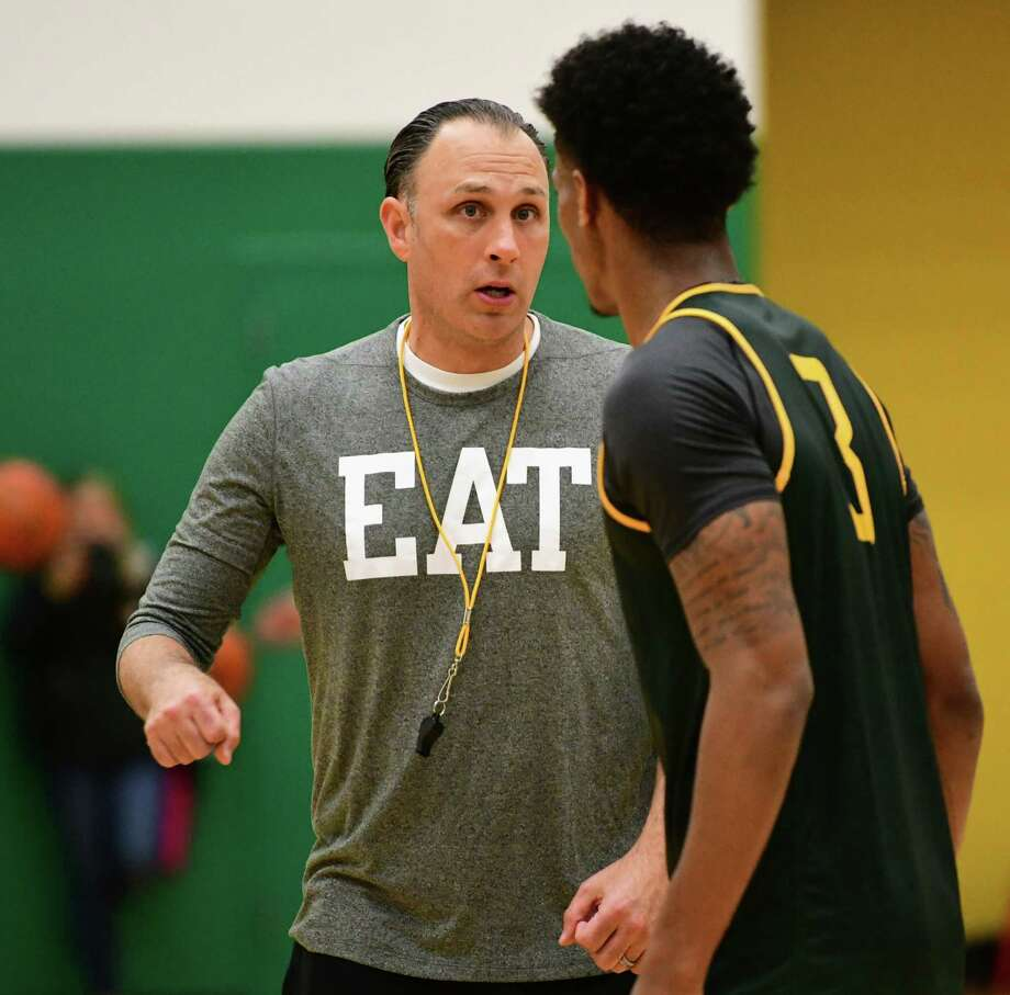 Head Coach Carmen Maciariello is seen as the Siena men's basketball team hold its first official practice of the season at Siena College on Thursday, Sept. 26, 2019 in Loudonville, N.Y. (Lori Van Buren/Times Union) Photo: Lori Van Buren, Albany Times Union / 40047893A