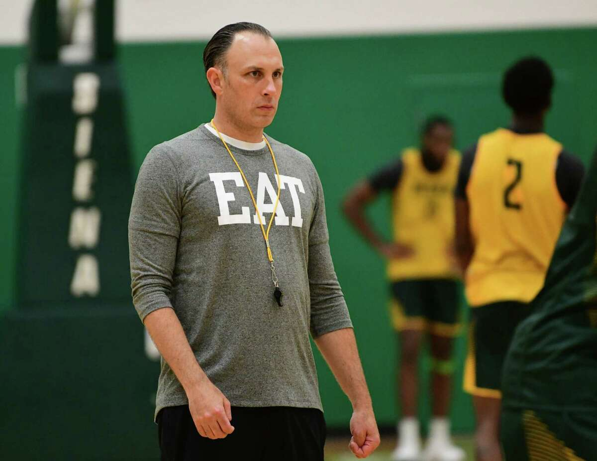 Head Coach Carmen Maciariello is seen as the Siena men's basketball team hold its first official practice of the season at Siena College on Thursday, Sept. 26, 2019 in Loudonville, N.Y. (Lori Van Buren/Times Union)