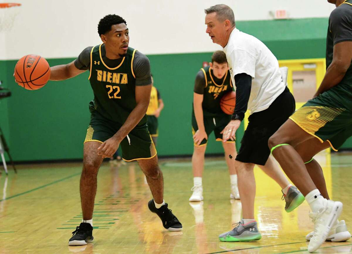 Jalen Pickett, #22, is seen as the Siena men's basketball team hold its first official practice of the season at Siena College on Thursday, Sept. 26, 2019 in Loudonville, N.Y. (Lori Van Buren/Times Union)