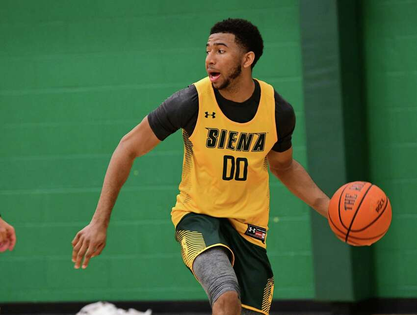 Don Carey, #00, is seen as the Siena men's basketball team hold its first official practice of the season at Siena College on Thursday, Sept. 26, 2019 in Loudonville, N.Y. (Lori Van Buren/Times Union)
