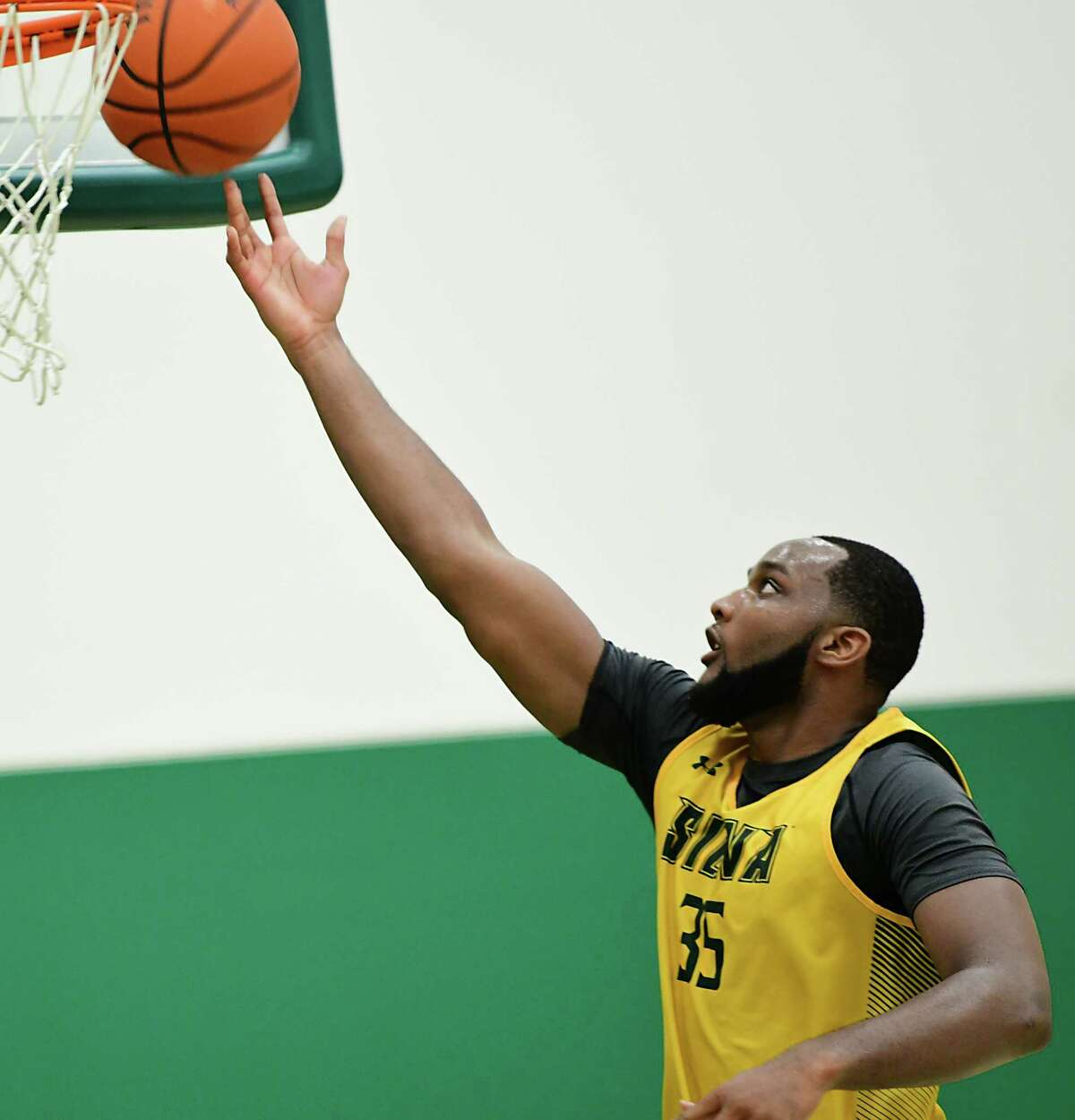Sammy Friday, #35, is seen as the Siena men's basketball team hold its first official practice of the season at Siena College on Thursday, Sept. 26, 2019 in Loudonville, N.Y. (Lori Van Buren/Times Union)