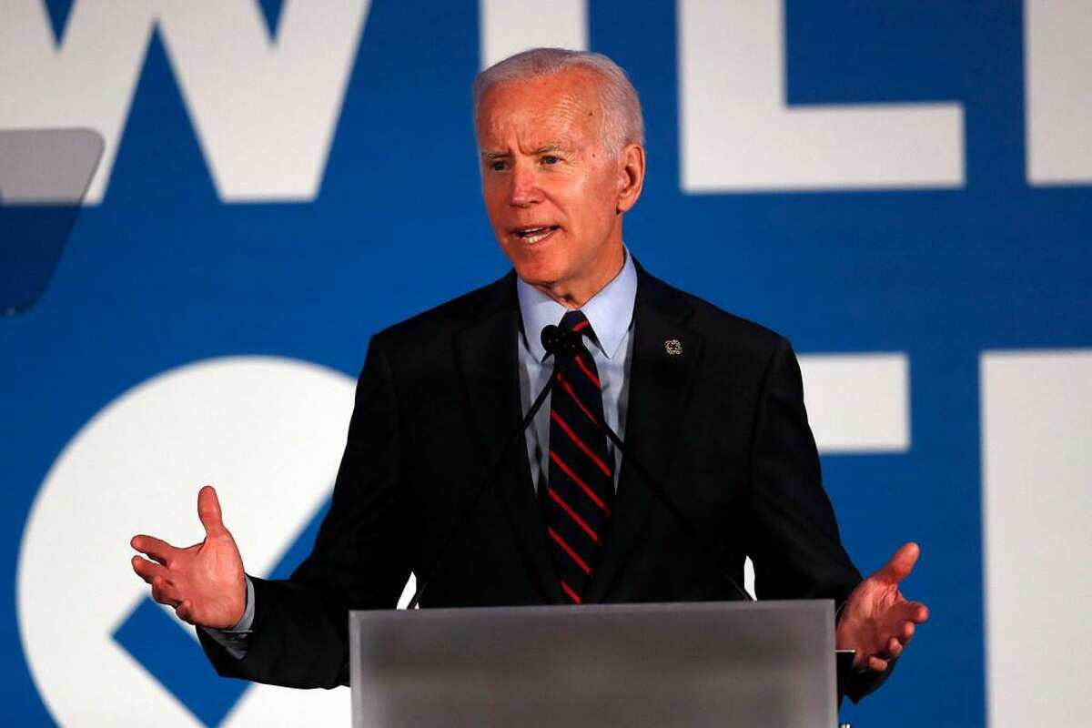 """Democratic presidential candidate former Vice President Joe Biden speaks in Atlanta. As Democratic presidential hopefuls prepare for their first 2020 primary debate this week, 77 medical and public health groups aligned on Monday, June 24, to push for a series of consensus commitments to combat climate change _ bluntly defined by the organizations as """"a health emergency."""""""