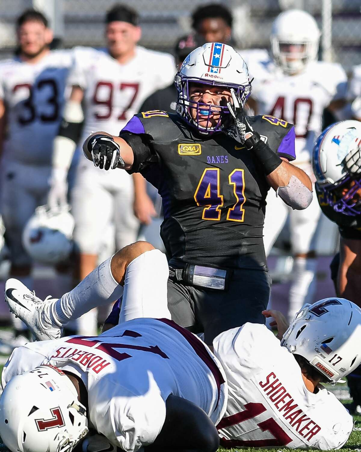 UAlbany's A.J. Mistler had nine tackles and a forced fumble in his debut at linebacker against Lafayette on Saturday. (Bill Ziskin/UAlbany athletics)