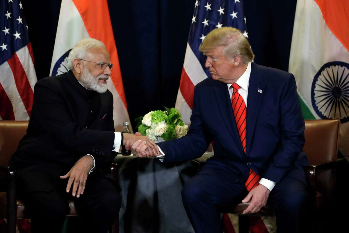 President Donald Trump meets with Indian Prime Minister Narendra Modi at the United Nations General Assembly, in New York on Tuesday, Sept. 24, 2019.