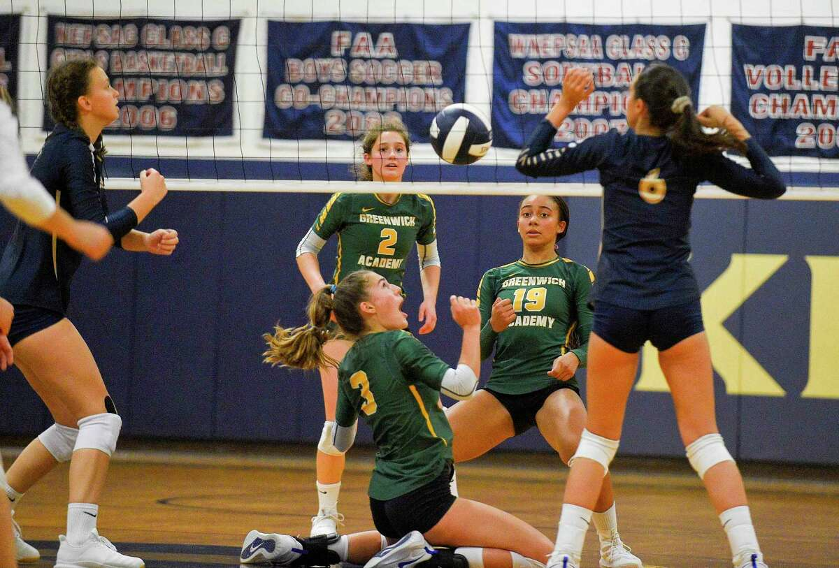 Greenwich Academy Valeska Lasky (3) gets under the ball as the Gators tops King 3-0 (25-19, 25-12, 25-20) in a FAA girls volleyball match at King School on Sept. 26, 2019 in Stamford, Connecticut.
