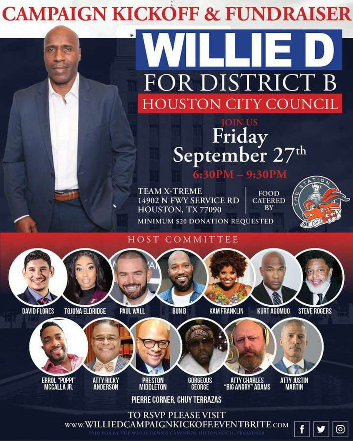 Willie D campaign kickoff and fundraiser invitation.