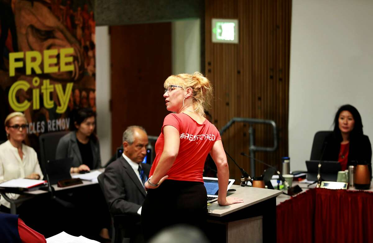 Jennifer Worley, president, AFT Local 2121, San Francisco Community College District Federation of Teachers, speaks during the Board of Trustees meeting in Conlan Hall at City College San Francisco in San Francisco, Calif., on Thursday, September 26, 2019. Board members are supposed to figure out how to handle the executive raises being requested by Chancellor Mark Rocha amid campus cuts.