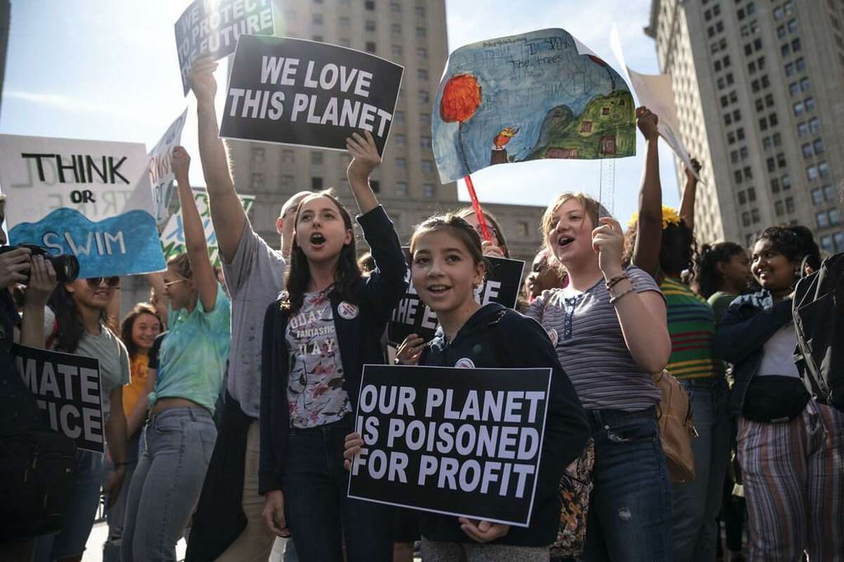Young activists and their supporters rally for action on climate change on September 20, 2019 in New York City. Thousands of young people across the globe are participating in a day of protest calling for urgent action to fight climate change in what organizers are calling the Global Climate Strike.