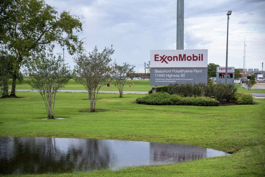 Signage stands outside the Exxon Mobil Corp. Beaumont Polyethylene Plant following Tropical Storm Imelda in Beaumont, Texas, U.S., on Friday, Sept. 20, 2019. The remnants of Tropical Storm Imelda lashed Houston and coastal Texas, inundating homes, paralyzing travelers, disrupting oil supplies, and threatening hospitals and refineries. Photographer: Sergio Flores/Bloomberg Photo: Sergio Flores / Sergio Flores/Bloomberg / © 2019 Bloomberg Finance LP