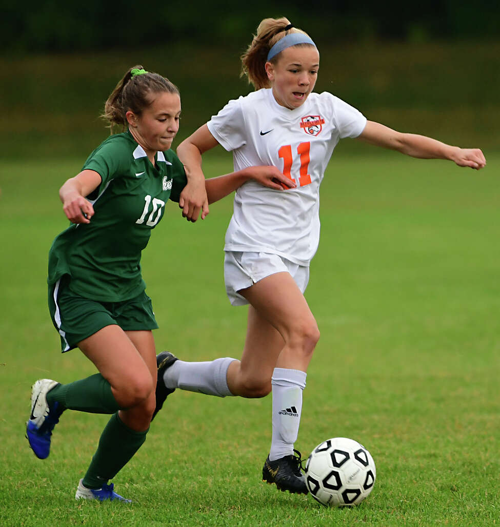 Bethlehem's Claire Hutton, #11, is defended by Shenendehowa's Haylee Eversten during a soccer game on Thursday, Sept. 26, 2019 in Clifton Park, N.Y. (Lori Van Buren/Times Union)