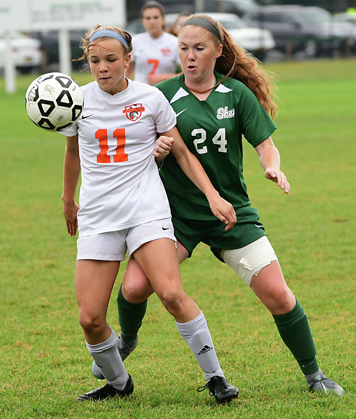 Bethlehem's Claire Hutton, #11, battles for the ball with Shenendehowa's Danielle Casey during a soccer game on Thursday, Sept. 26, 2019 in Clifton Park, N.Y. (Lori Van Buren/Times Union)