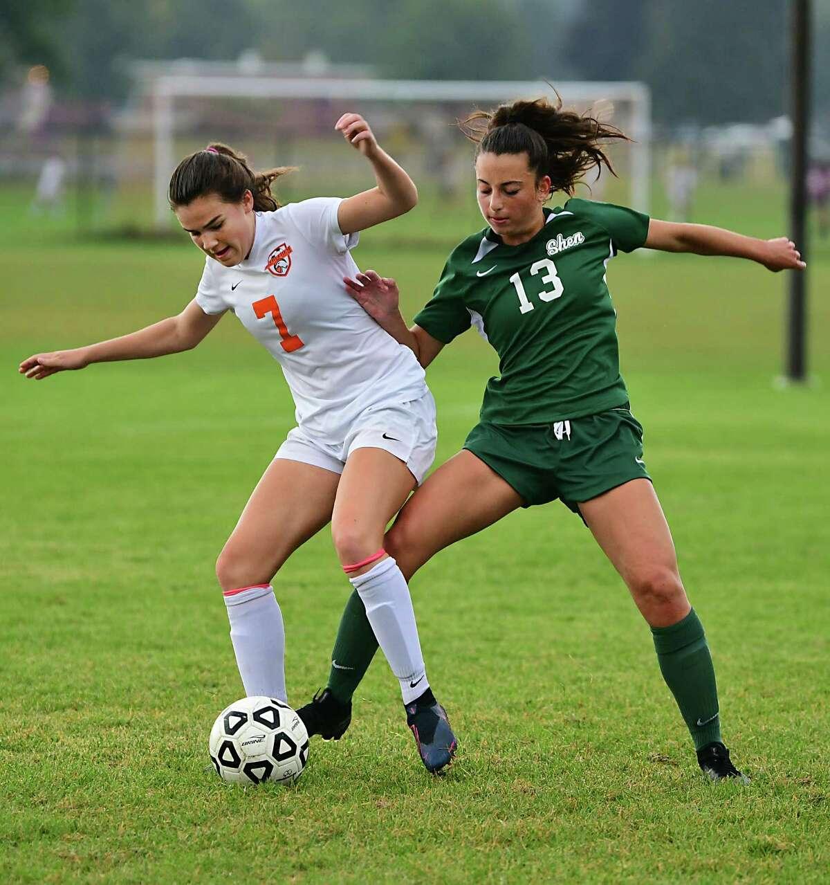 Shenendehowa's Sophia DeMura battles with Bethlehem's Katie Sellers in 2019. DeMura helped the Lady Plainsmen limit opponents to six goals for the season.