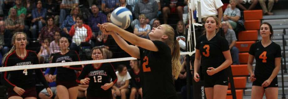 The Ubly volleyball team opened their newly renovated gym with a sweep of Sandusky on Thursday night. Photo: Mark Birdsall/Huron Daily Tribune