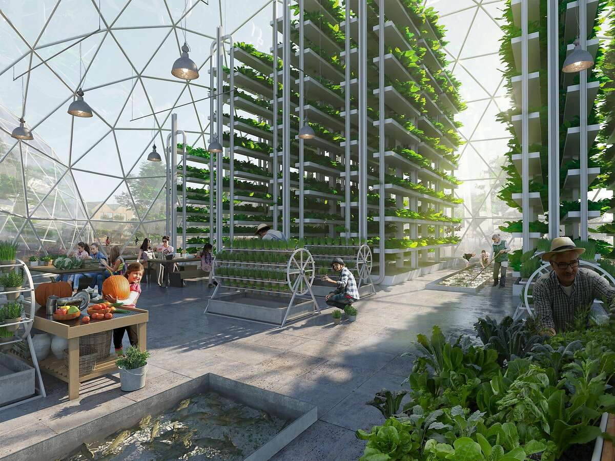 In an undated handout image, a rendering of indoor vertical farming and aquaponic greenhouses at a ReGen Village. The first community, with about 300 units, is planned for 61 acres near Amsterdam. (Handout via The New York Times) -- NO SALES; FOR EDITORIAL USE ONLY WITH NYT STORY SUSTAINABLE NEIGHBORHOODS BY ELLEN ROSEN FOR SEPT. 26, 2019. ALL OTHER USE PROHIBITED. --