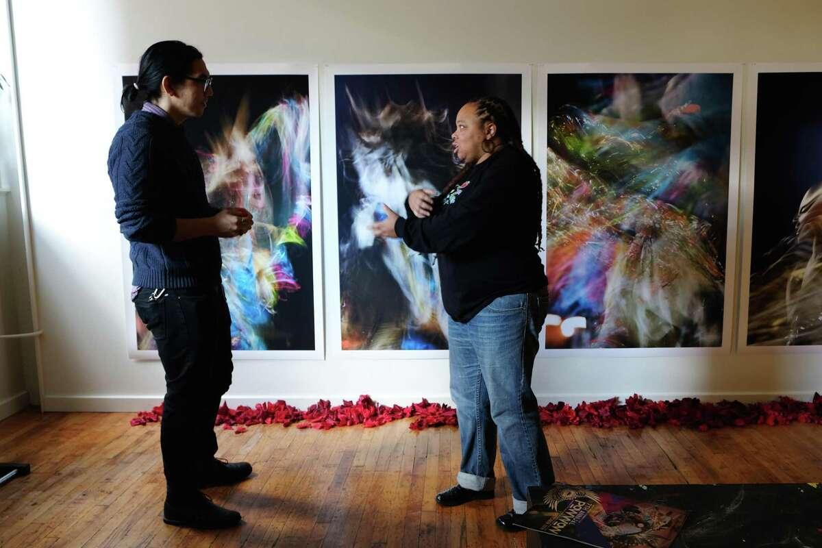 Curator Patrick Jaojoco and artist Kim Weston at Kehler Liddell Gallery, Westville & Private Studios Weekend in 2018