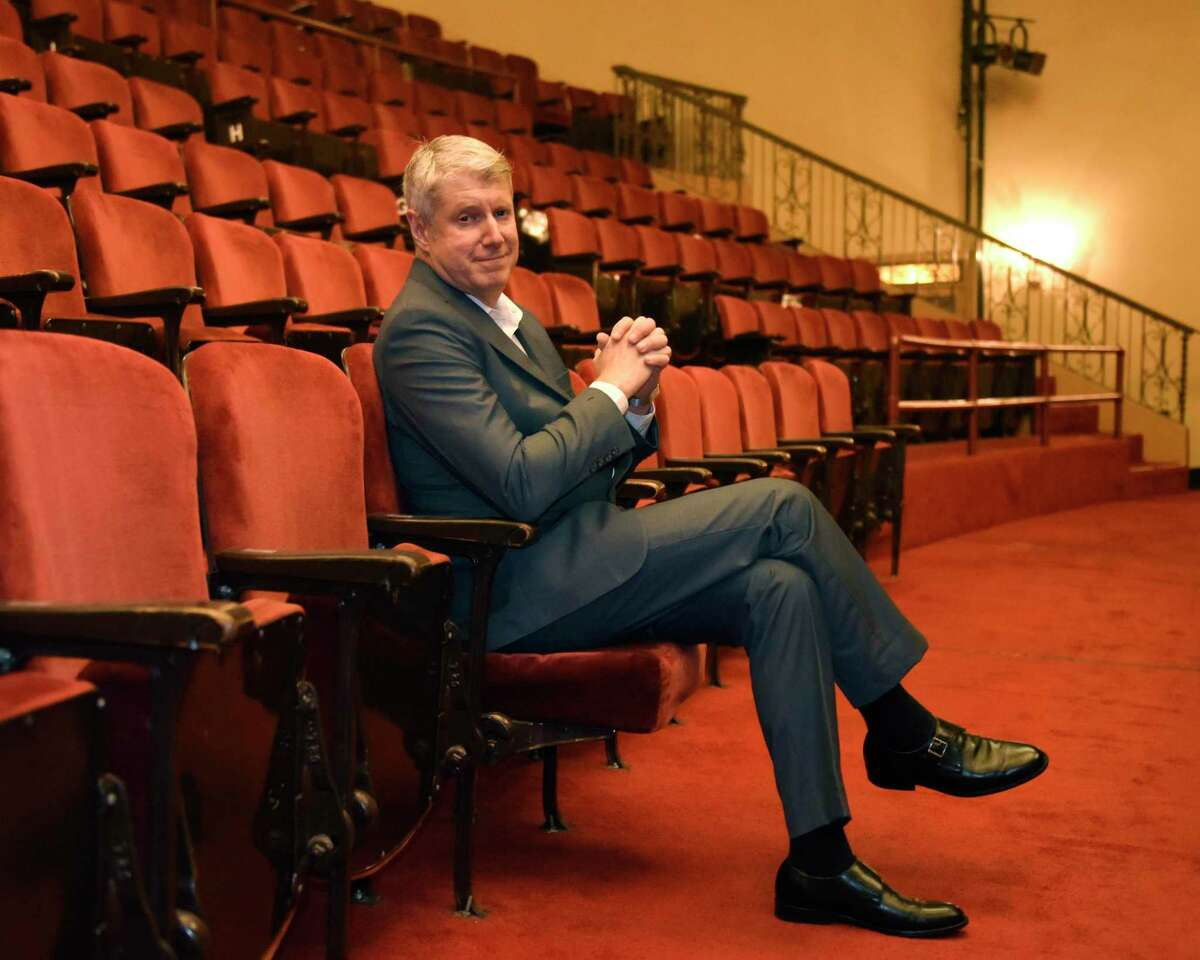 Incoming Stamford Symphony Music Director Designate, Michael Stern, poses at the Palace Theatre in Stamford, Conn. Monday, Sept. 9, 2019. The search committee reviewed over 200 candidates from all over the world over two years before finally selecting Stern. Stern served as the music director and lead conductor of the Kansas City Symphony and is also the founding music director of the IRIS Orchestra in Germantown, Tennessee
