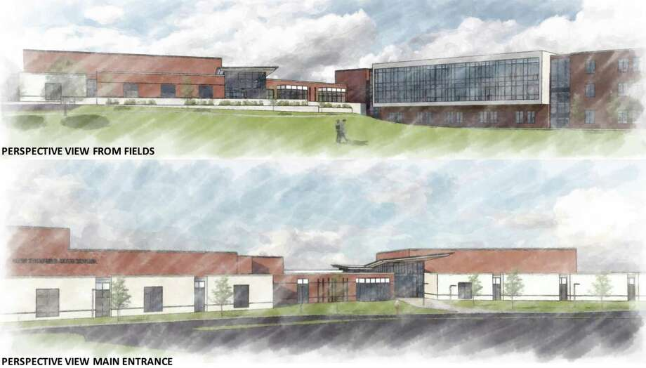 Renderings of the proposed new New Fairfield High School. Photo: QA+M Architecture