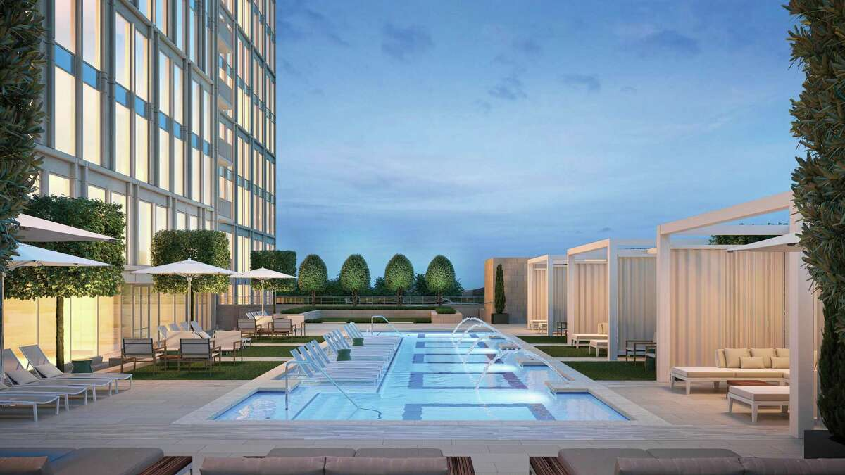 The pool at The Hawthorne is part of 23,000 square feet of amenities on the fifth floor. The 17-story condominium project is a development of Pelican Builders at San Felipe and Chimney Rock.