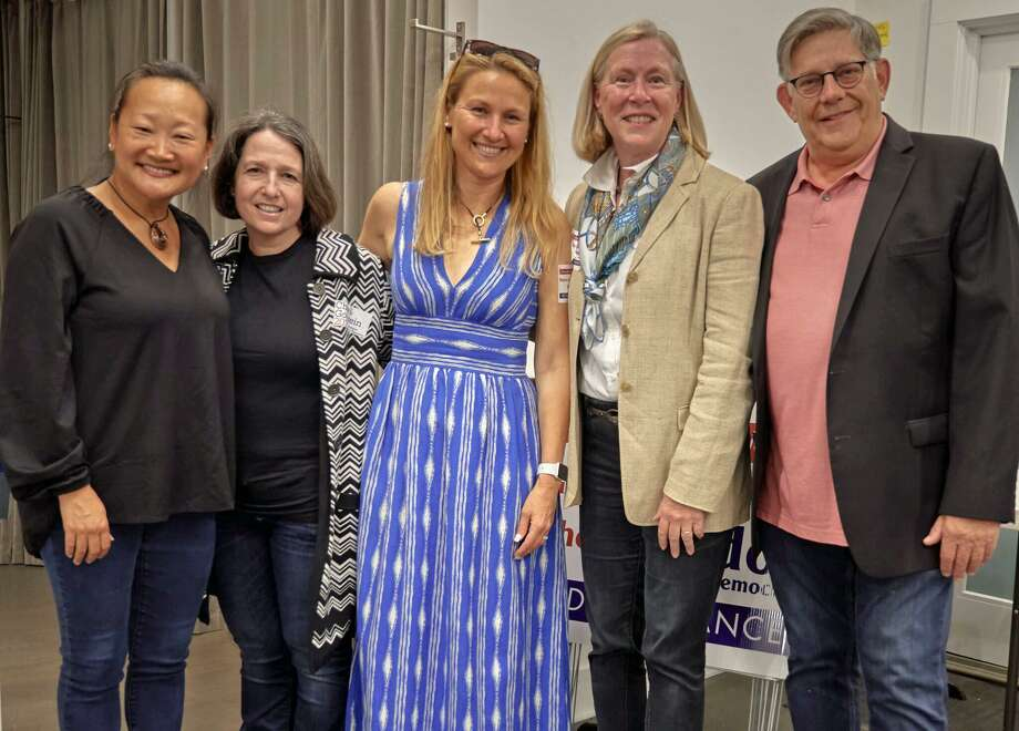 From left, Youn Su Chao, Lee Goldstein, Sheri Gordon, Nancie Dupier and Paul Lebowitz at the opening of the Westport DTC's 2019 headquarters on Sept. 20. Photo: Nick Pisarro Jr. / Contributed Photo
