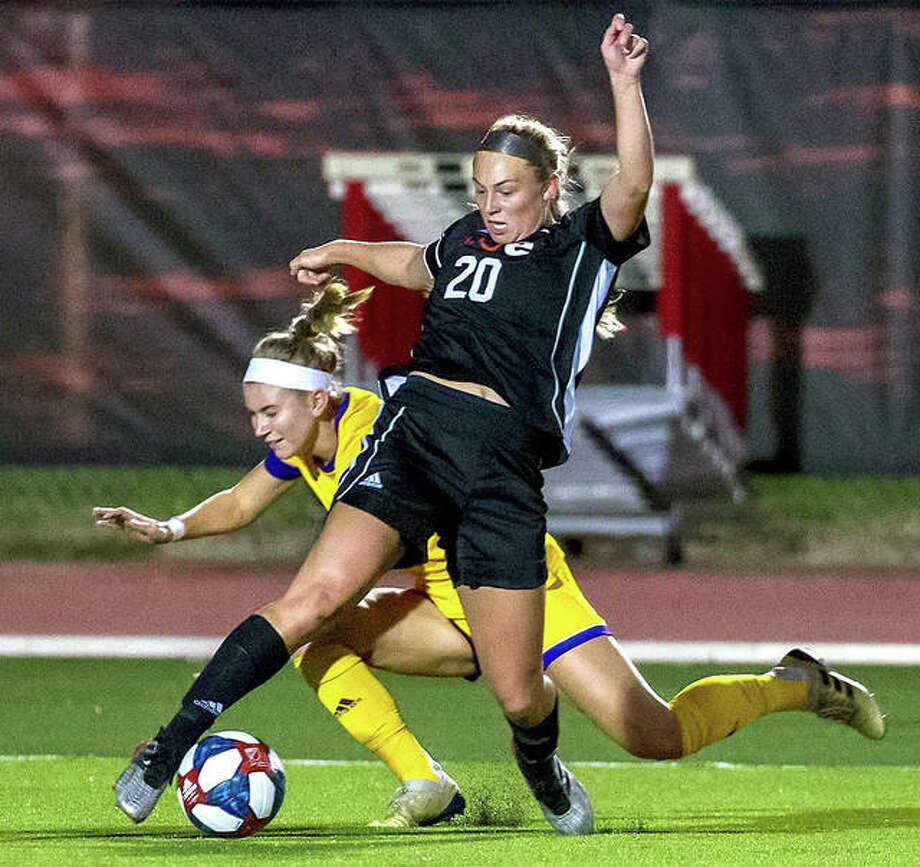 SIUE's Courtney Benning (20) controls the ball in front of a Tennessee tech player Thursday night at Korte Stadium. The teams played to a 2-2 draw. Photo: SIUE