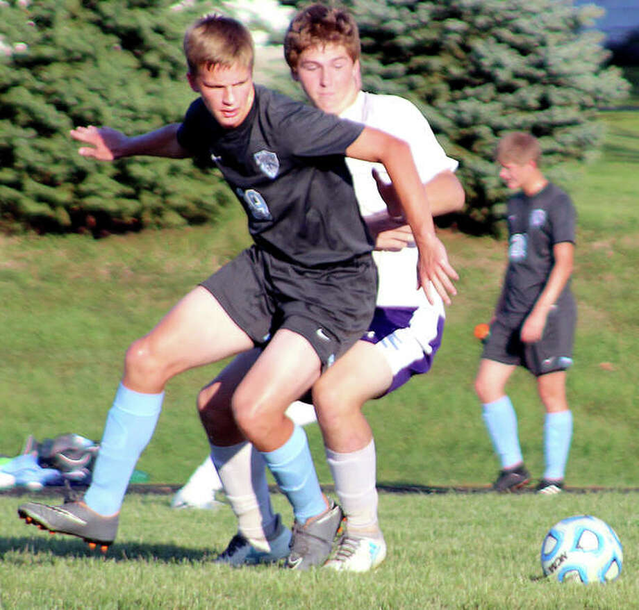 Andrew Kribs, left, scored a second-half goal in Jersey's 2-0 Mississippi Valley conference victory over Mascoutah Thursday night at JCHS. Kribs has 30 goals on the season, tops in the St. Louis area. Photo: Pete Hayes | The Telegraph