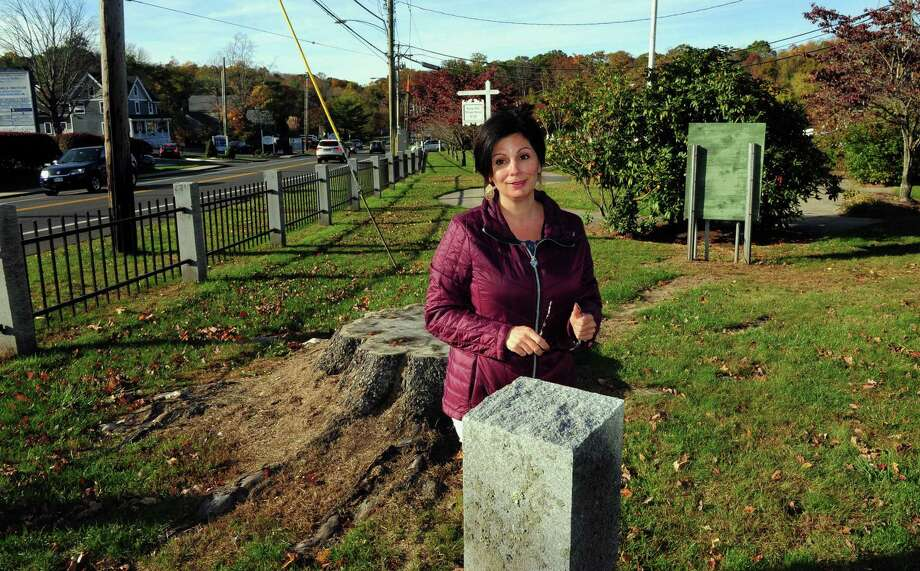 Rina Balakar, Trumbull's Economic and Community Developer, talks about the proposed enhancements to the Long Hill Green in Trumbull, Conn., on Wednesday Oct. 26, 2016. Photo: Christian Abraham / Hearst Connecticut Media / Connecticut Post